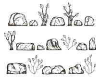 Piedras y bosquejo del vector de las plantas Gráfico de la mano Foto de archivo libre de regalías