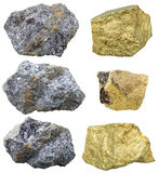 Piedras y cristales de la calcopirita en rocas de la galena Fotografía de archivo libre de regalías