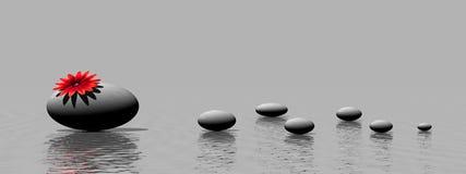 Piedras y flor del zen stock de ilustración