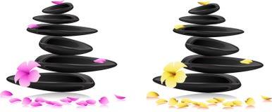 Piedras y flores del balneario ilustración del vector