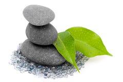 Piedras y hojas del zen Fotos de archivo libres de regalías