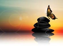 Piedras y mariposa Foto de archivo libre de regalías