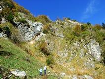 Piedras y rocas del macizo Alpstein de la montaña y en la región de Appenzellerland foto de archivo libre de regalías