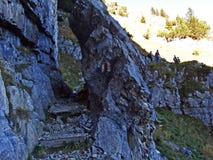 Piedras y rocas del macizo Alpstein de la montaña y en la región de Appenzellerland foto de archivo