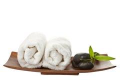 Piedras y toallas del balneario aisladas Imagen de archivo libre de regalías