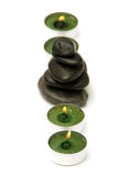 Piedras y velas del masaje Foto de archivo libre de regalías
