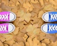 Pieds affectueux de couples sur des feuilles d'automne Images libres de droits