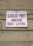 3.333 33 pieds au-dessus de niveau de la mer Photographie stock