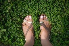 Pieds avec les clous rose-clair peints dans l'herbe Image libre de droits
