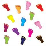Pieds colorés Images stock