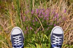 Pieds dans des espadrilles contre l'herbe Photographie stock
