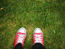Pieds dans des espadrilles rouges sur l'herbe verte, vue supérieure Photos stock