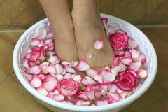Pieds dans une cuvette avec des pétales de rose Photographie stock libre de droits