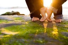 pieds de coucher du soleil Photo libre de droits
