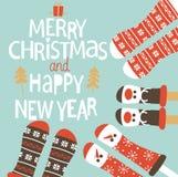 Pieds de famille dans des chaussettes de Noël Photographie stock