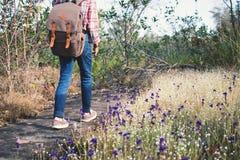 Pieds de fille marchant en belle fleur classée Photos libres de droits