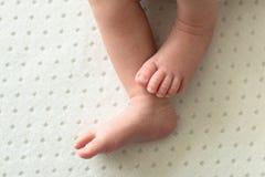 Pieds du bébé nouveau-né sur le fond blanc, doigts sur le pied, astuces douces images stock