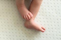 Pieds du bébé nouveau-né sur le fond blanc, doigts sur le pied, astuces douces photo stock