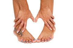 Pieds et forme de mains Image libre de droits