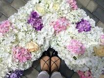 Pieds, fleurs et amour de femme Images libres de droits