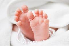 Pieds nouveau-nés de bébé Photographie stock libre de droits