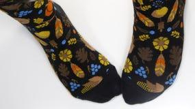 Pieds portant des chaussettes de récolte Photographie stock libre de droits