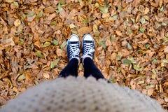Pieds sur les feuilles jaunes Photographie stock