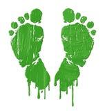 Pieds verts d'impression Images libres de droits
