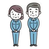 Piegarsi delle donne e degli uomini senior illustrazione di stock