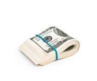 Piegato cento dollari Immagine Stock