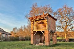 Piegeon loft and dovecote at sunset stock photos