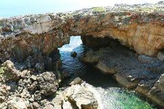 Piekła ` s Usta Boca Di Jatka jest otchłanią lokalizować w nadmorski falezach blisko do Portugalskiego miasta Cascais zdjęcia stock