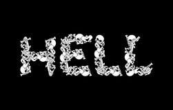 Piekło typografia Listy od kości Anatomii literowanie Śmierć si royalty ilustracja