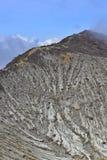 Piek van de actieve volanic krater van Kawah Ijen in Oost-Java Royalty-vrije Stock Afbeelding