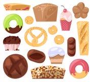Piekarni ciasta wypiekowy chleb, bochenek lub piec pączek dla śniadaniowego ilustracyjnego słodka bułeczka i babeczek ustawiamy o ilustracji