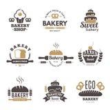 Piekarni etykietki Kulinarnych symboli/lów kuchenne wektorowe ilustracje dla logo projekta ilustracja wektor