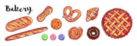 Piekarni i chleba wektoru kolekcja Różni typ ciasta Ilustracji