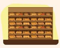 Piekarni półka z chlebem w supermarkecie, duży wybór świezi produkty Zdjęcie Royalty Free