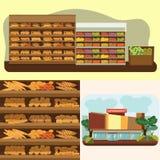 Piekarni półka z chlebem w supermarkecie, duży wybór świezi produkty Obrazy Stock
