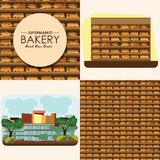 Piekarni półka z chlebem w supermarkecie, duży wybór świezi produkty Fotografia Royalty Free
