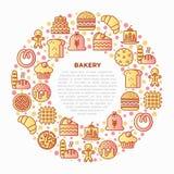 Piekarni pojęcie w okręgu z cienkimi kreskowymi ikonami: wznosi toast chleb, bliny, mąka, croissant, pączek, precel, ciastka, pie royalty ilustracja