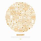Piekarni pojęcie w okręgu z cienkimi kreskowymi ikonami: wznosi toast chleb, bliny, mąka, croissant, pączek, precel, ciastka, pie ilustracja wektor