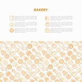 Piekarni pojęcie z cienkimi kreskowymi ikonami: wznosi toast chleb, bliny, mąka, croissant, pączek, precel, ciastka, piernikowy m ilustracja wektor