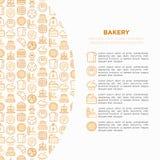 Piekarni pojęcie z cienkimi kreskowymi ikonami: wznosi toast chleb, bliny, mąka, croissant, pączek, precel, ciastka, piernikowy m ilustracji