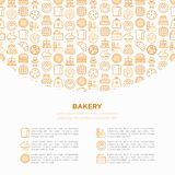 Piekarni pojęcie z cienkimi kreskowymi ikonami: wznosi toast chleb, bliny, mąka, croissant, pączek, precel, ciastka, piernikowy m royalty ilustracja