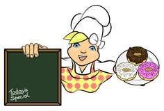 piekarni szef kuchni pączka dziewczyny ilustracja Zdjęcia Stock
