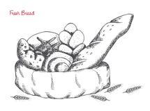 Piekarnia: chleb, babeczki, croissant, bochenek na białym tle Obraz Royalty Free