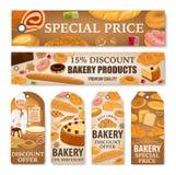 Piekarnia chleb, słodkie ciasto deserów rabata etykietki ilustracja wektor
