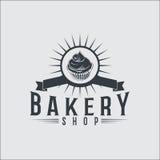 Piekarnia chlebowego rocznika odznak retro etykietki Zdjęcie Stock