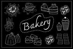Piekarnia menu czerni deski doodle Fotografia Royalty Free